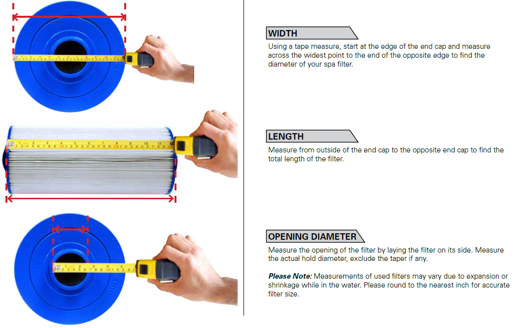 How to measure Spa Filters